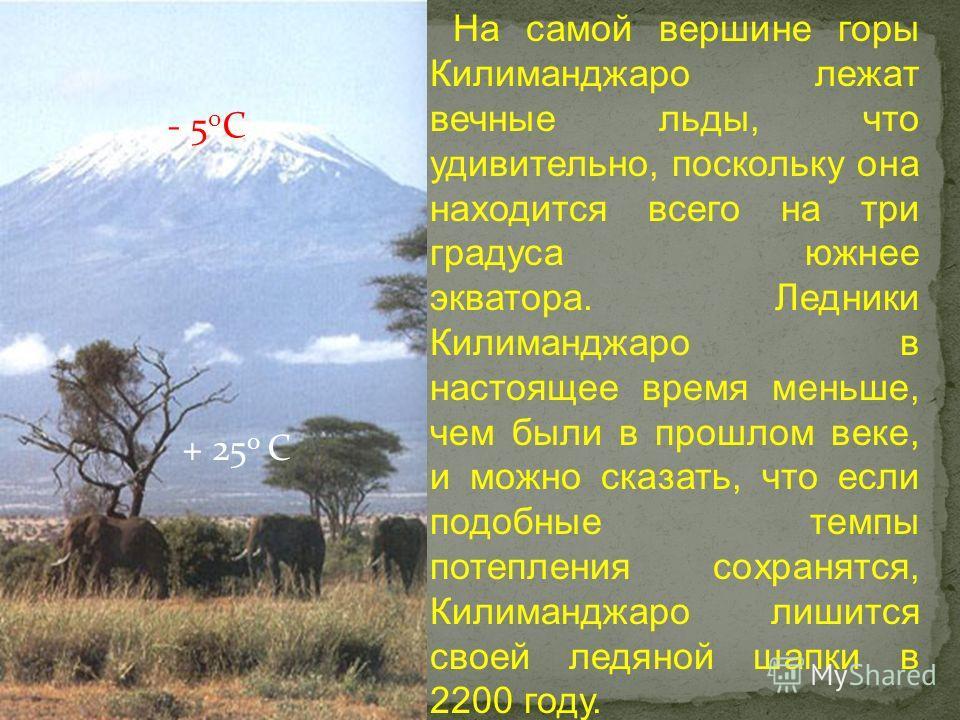 На самой вершине горы Килиманджаро лежат вечные льды, что удивительно, поскольку она находится всего на три градуса южнее экватора. Ледники Килиманджаро в настоящее время меньше, чем были в прошлом веке, и можно сказать, что если подобные темпы потеп