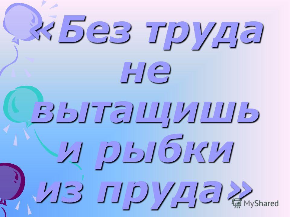 «Без труда не вытащишь и рыбки из пруда»