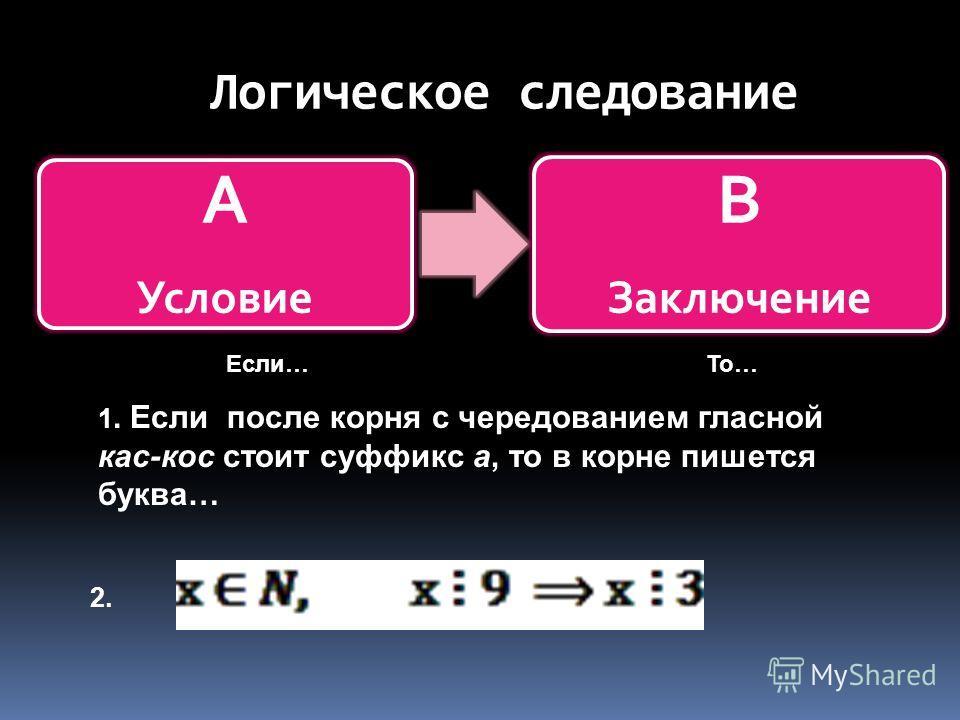 Логическое следование А Условие В Заключение 1. Если после корня с чередованием гласной кас-кос стоит суффикс а, то в корне пишется буква… 2. Если…То…