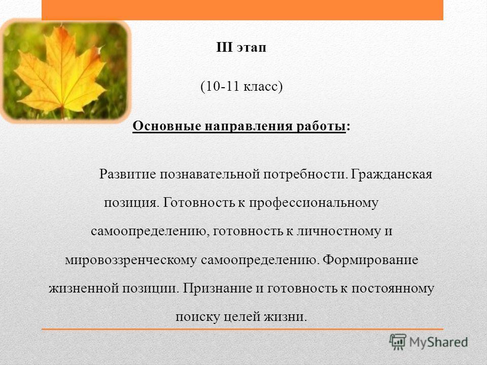 III этап (10-11 класс) Основные направления работы: Развитие познавательной потребности. Гражданская позиция. Готовность к профессиональному самоопределению, готовность к личностному и мировоззренческому самоопределению. Формирование жизненной позици