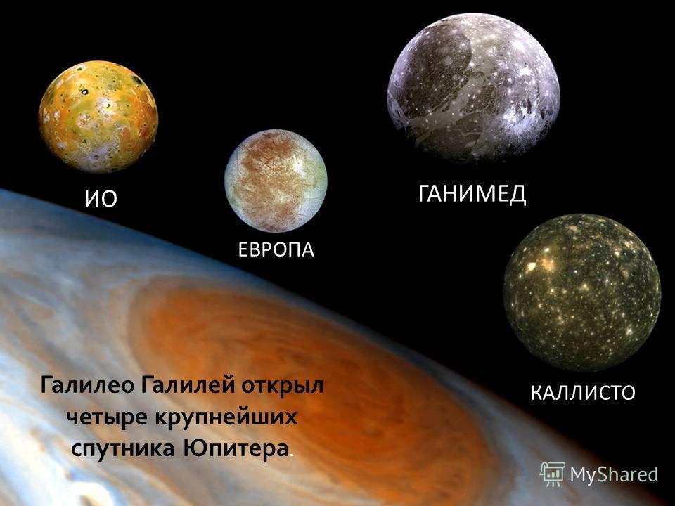 ИО ЕВРОПА ГАНИМЕД КАЛЛИСТО Галилео Галилей открыл четыре крупнейших спутника Юпитера.