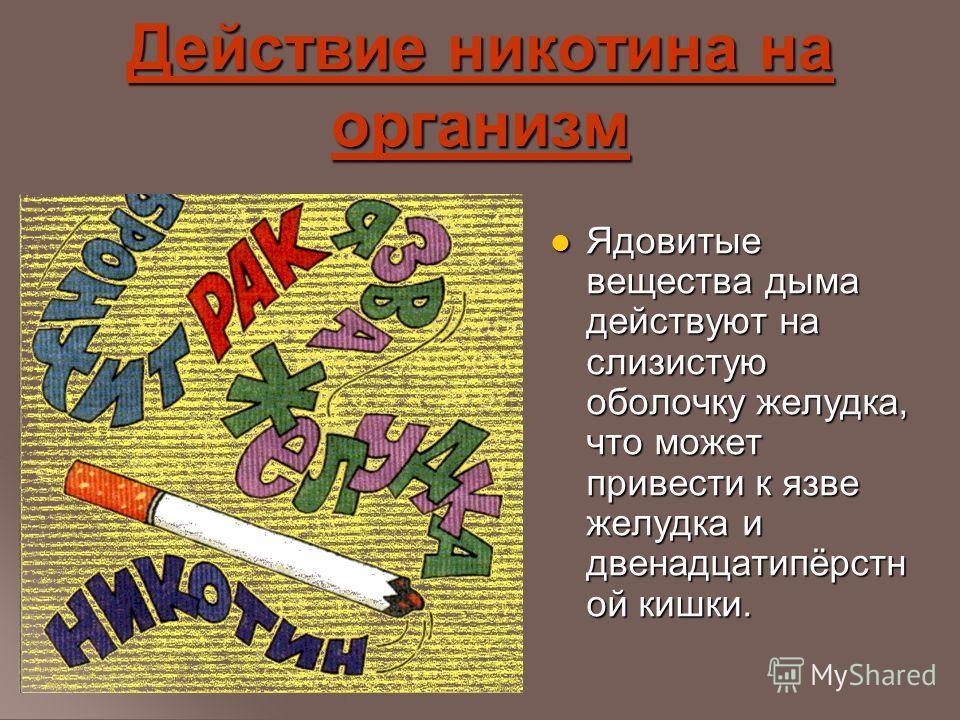 Действие никотина на организм Ядовитые вещества дыма действуют на слизистую оболочку желудка, что может привести к язве желудка и двенадцатипёрстн ой кишки. Ядовитые вещества дыма действуют на слизистую оболочку желудка, что может привести к язве жел