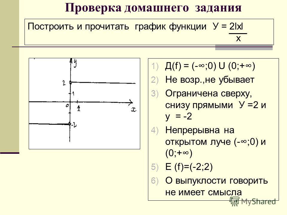 Проверка домашнего задания 1) Д(f) = (-;0) U (0;+) 2) Не возр.,не убывает 3) Ограничена сверху, снизу прямыми У =2 и у = -2 4) Непрерывна на открытом луче (-;0) и (0;+) 5) Е (f)=(-2;2) 6) О выпуклости говорить не имеет смысла Построить и прочитать гр