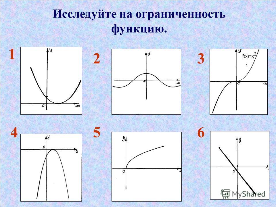 Исследуйте на ограниченность функцию. 1 23 456 f(x)=х 3