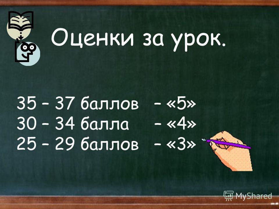 Оценки за урок. 35 – 37 баллов – «5» 30 – 34 балла – «4» 25 – 29 баллов – «3»