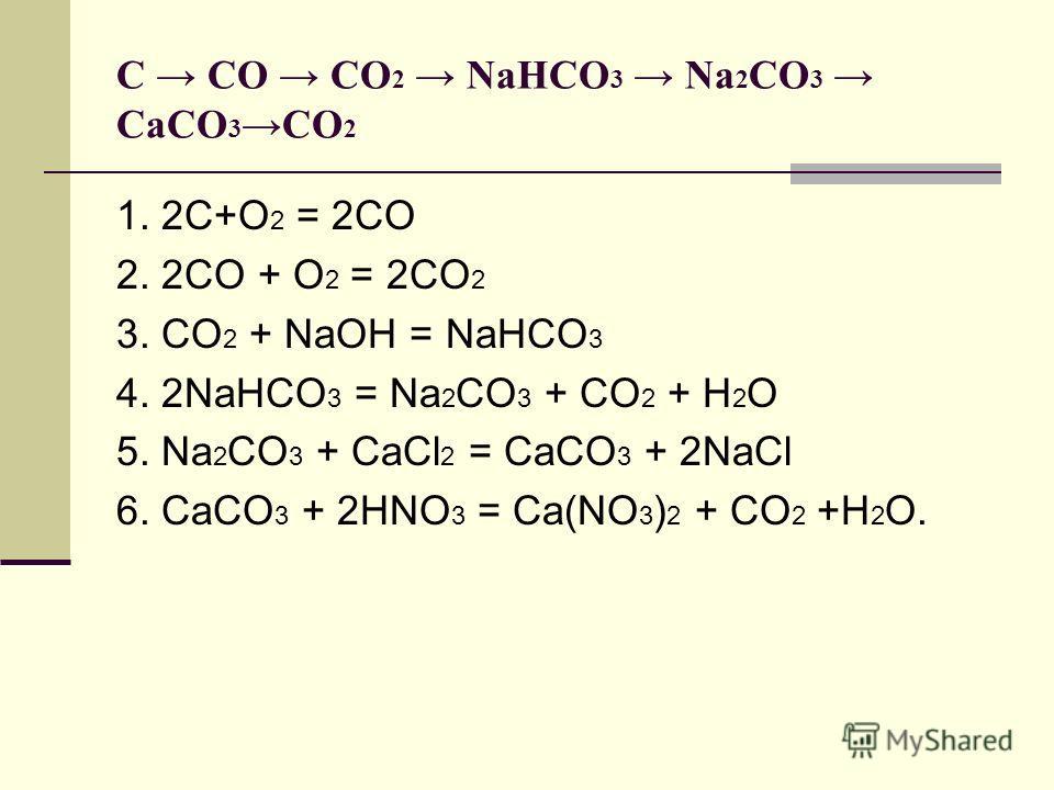 1. 2С+О 2 = 2СО 2. 2СО + О 2 = 2СО 2 3. СО 2 + NaOH = NaHCO 3 4. 2NaHCO 3 = Na 2 CO 3 + CO 2 + H 2 O 5. Na 2 CO 3 + CaCl 2 = CaCO 3 + 2NaCl 6. CaCO 3 + 2HNO 3 = Ca(NO 3 ) 2 + CO 2 +H 2 O. С СO CO 2 NaHCO 3 Na 2 CO 3 CaCO 3 CO 2