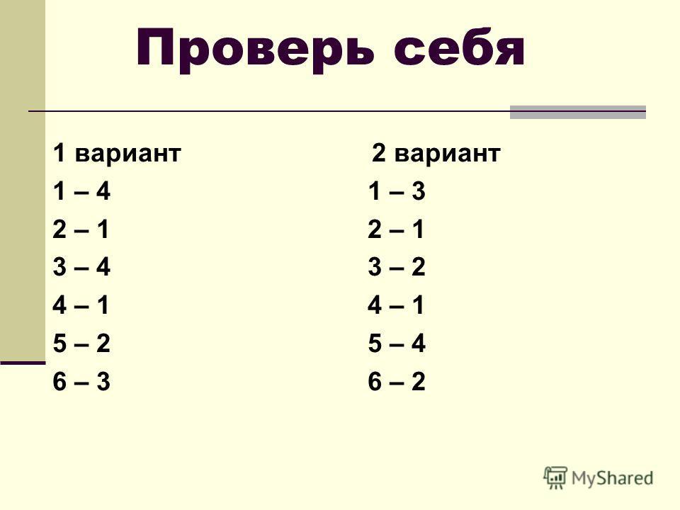 Проверь себя 1 вариант 2 вариант 1 – 4 1 – 3 2 – 1 3 – 4 3 – 2 4 – 1 5 – 2 5 – 4 6 – 3 6 – 2
