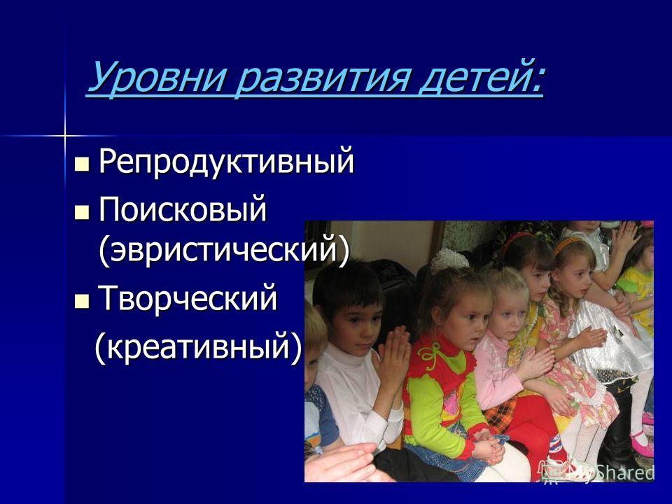 Уровни развития детей: Репродуктивный Репродуктивный Поисковый (эвристический) Поисковый (эвристический) Творческий Творческий (креативный) (креативный)