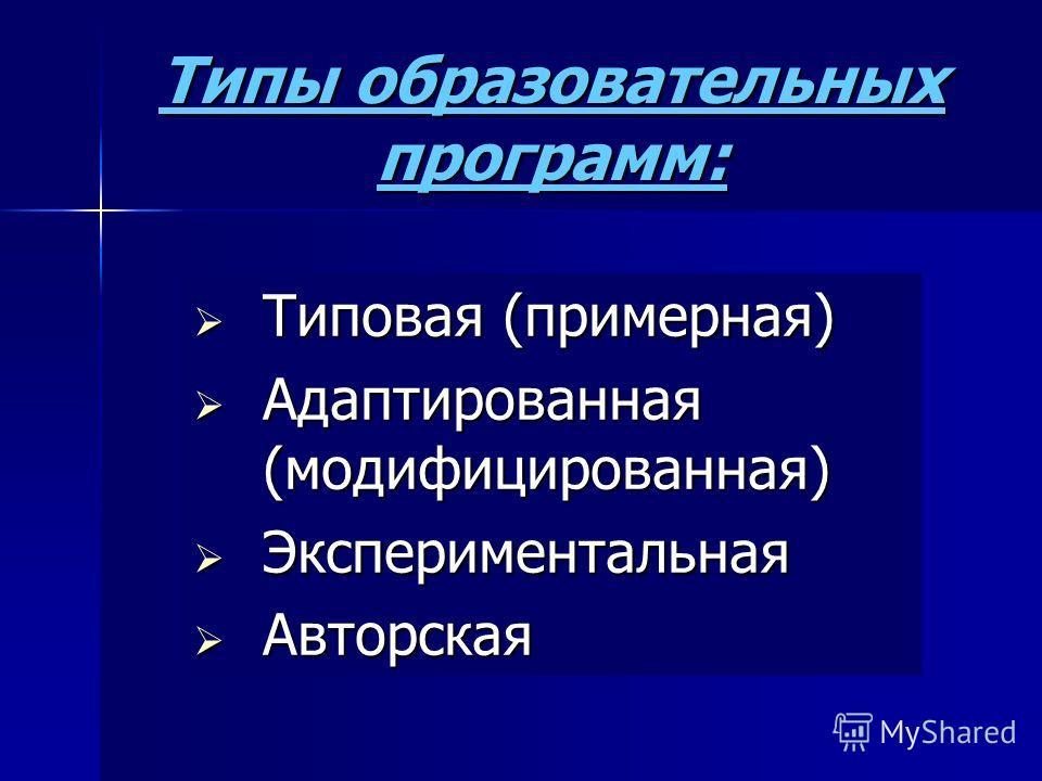Типы образовательных программ: Типовая (примерная) Типовая (примерная) Адаптированная (модифицированная) Адаптированная (модифицированная) Экспериментальная Экспериментальная Авторская Авторская