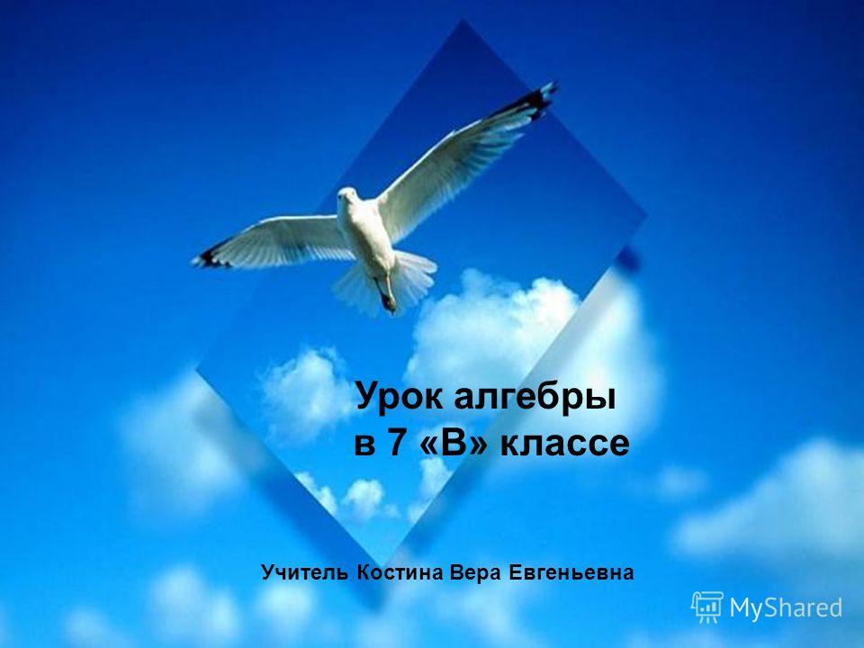 Урок алгебры в 7 «В» классе Учитель Костина Вера Евгеньевна
