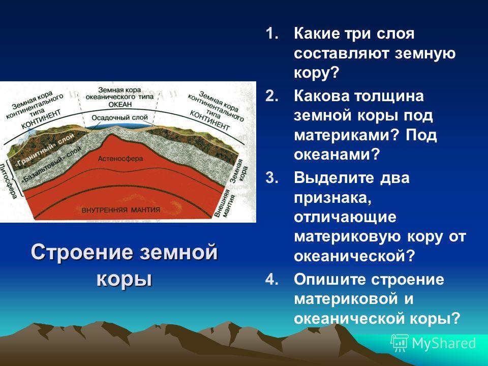 Строение земной коры 1. 1.Какие три слоя составляют земную кору? 2. 2.Какова толщина земной коры под материками? Под океанами? 3. 3.Выделите два признака, отличающие материковую кору от океанической? 4. 4.Опишите строение материковой и океанической к