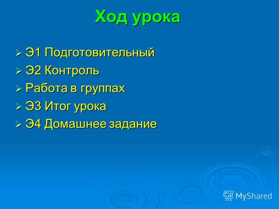 Ход урока Э1 Подготовительный Э1 Подготовительный Э2 Контроль Э2 Контроль Работа в группах Работа в группах Э3 Итог урока Э3 Итог урока Э4 Домашнее задание Э4 Домашнее задание