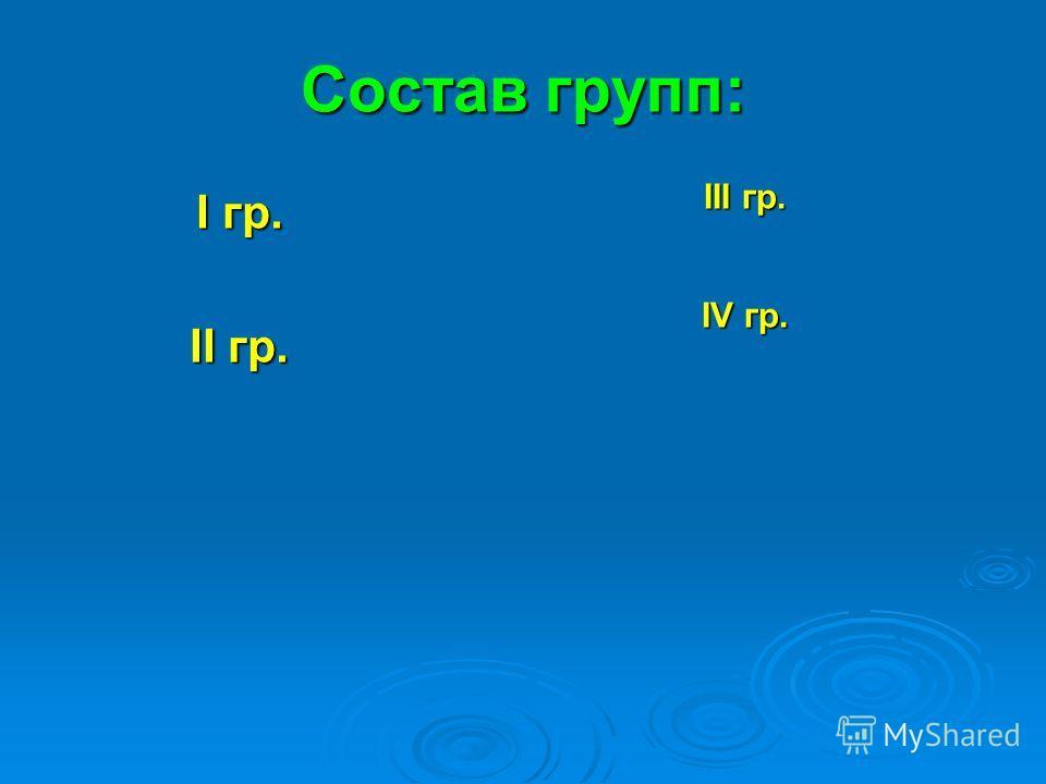 Состав групп: I гр. II гр. III гр. IV гр.