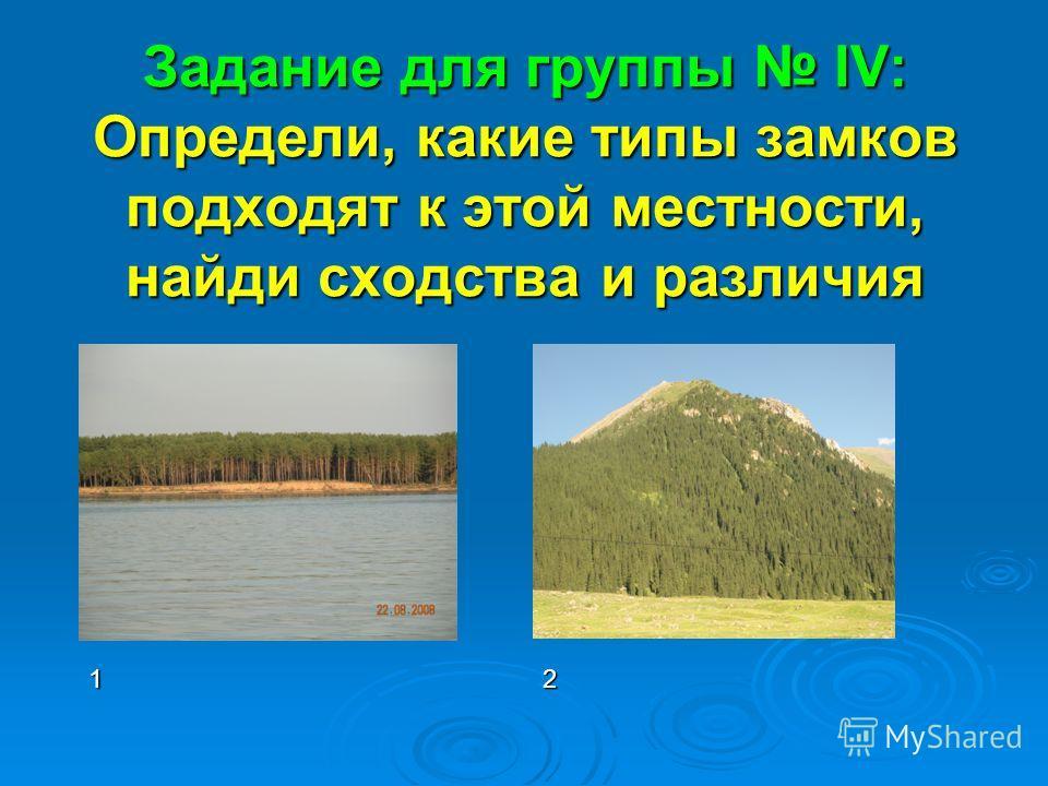 Задание для группы IV: Определи, какие типы замков подходят к этой местности, найди сходства и различия 12