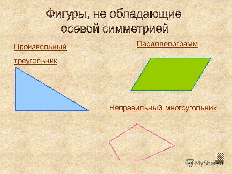 Произвольный треугольник Параллелограмм Неправильный многоугольник