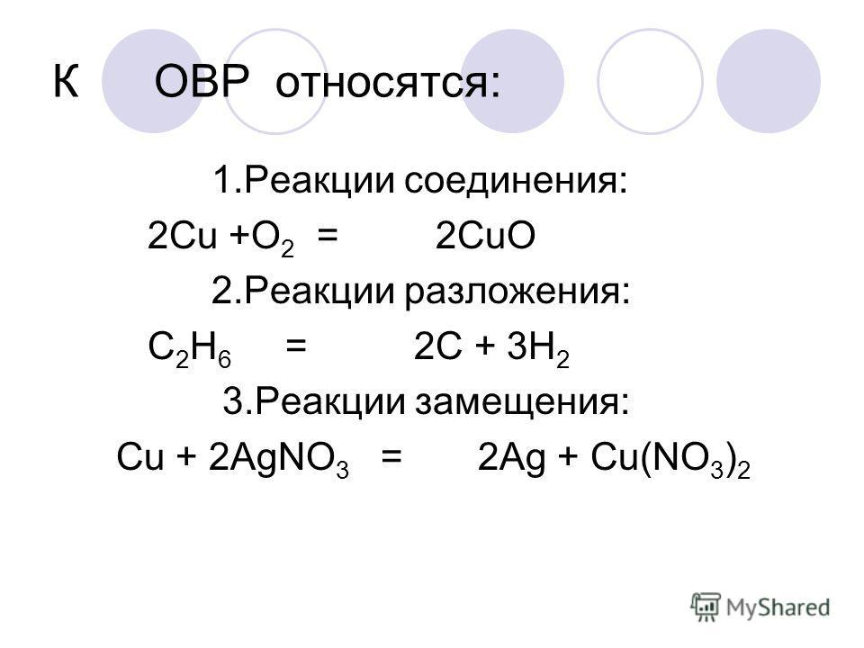 К ОВР относятся: 1.Реакции соединения: 2Cu +O 2 = 2CuO 2.Реакции разложения: C 2 H 6 = 2C + 3H 2 3.Реакции замещения: Cu + 2AgNO 3 = 2Ag + Cu(NO 3 ) 2