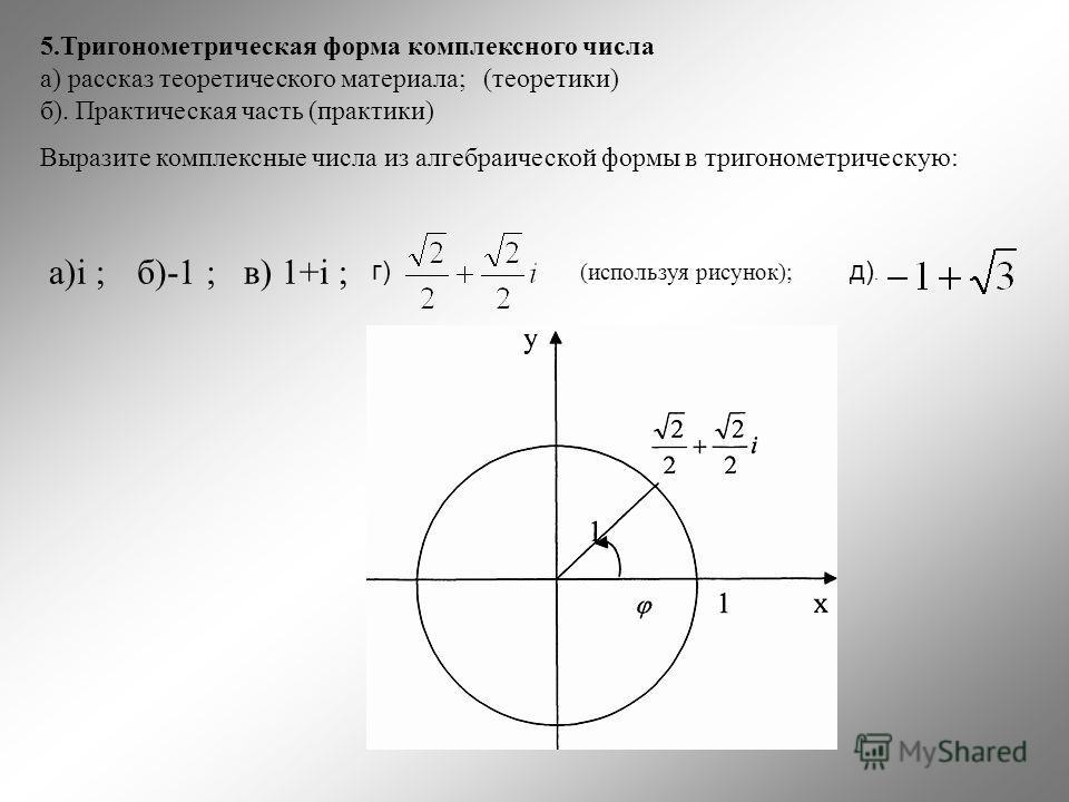5.Тригонометрическая форма комплексного числа а) рассказ теоретического материала; (теоретики) б). Практическая часть (практики) Выразите комплексные числа из алгебраической формы в тригонометрическую: a)i ;б)-1 ;в) 1+i ; г) (используя рисунок); д).
