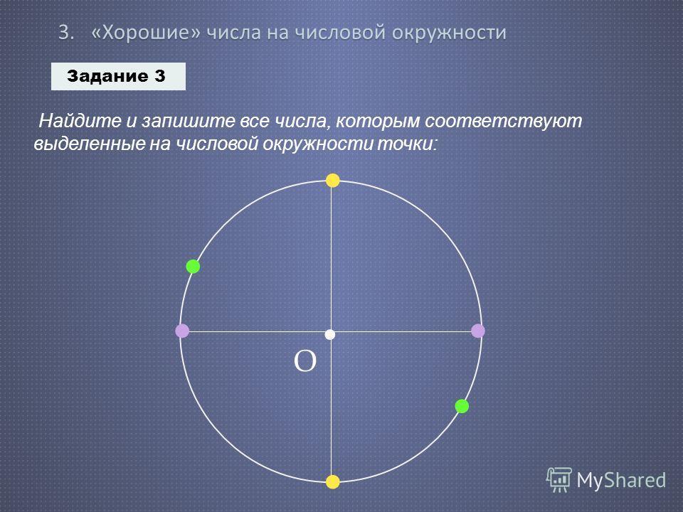 3. « Хорошие » числа на числовой окружности Задание 3 Найдите и запишите все числа, которым соответствуют выделенные на числовой окружности точки: О