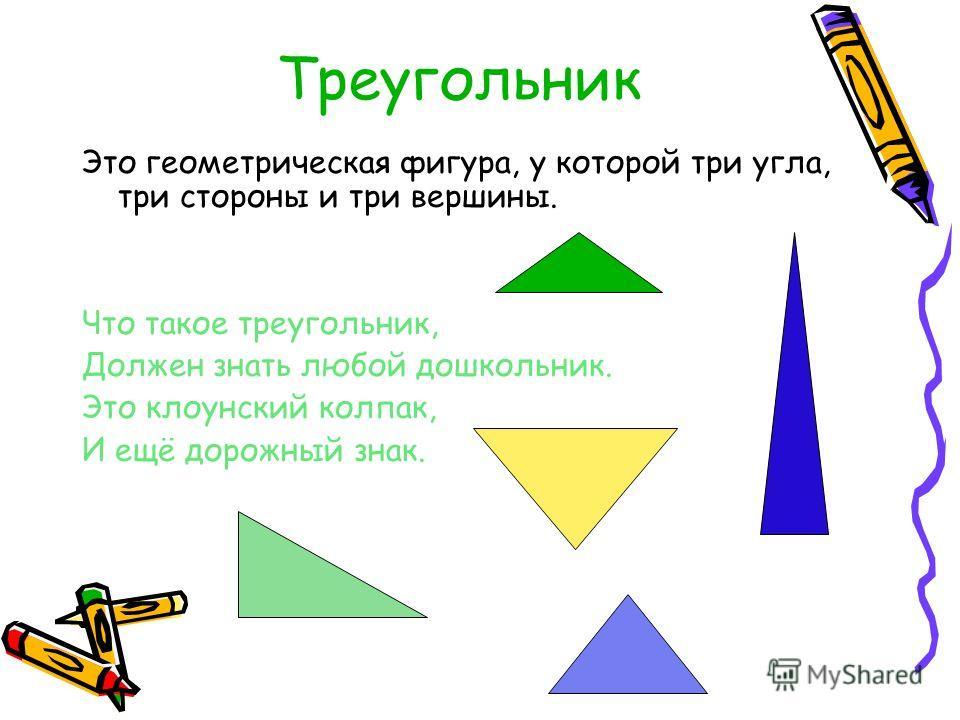 Треугольник Это геометрическая фигура, у которой три угла, три стороны и три вершины. Что такое треугольник, Должен знать любой дошкольник. Это клоунский колпак, И ещё дорожный знак.