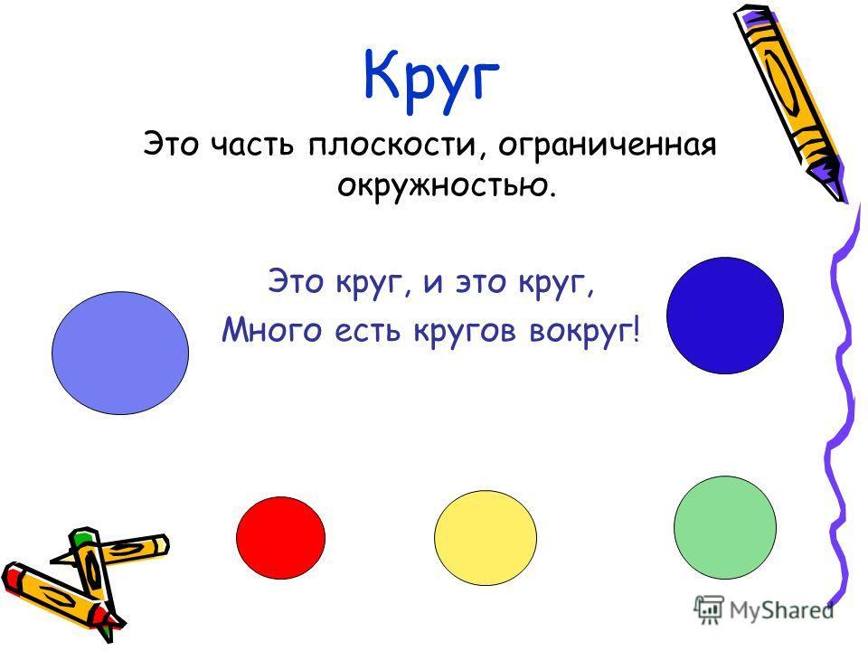 Круг Это часть плоскости, ограниченная окружностью. Это круг, и это круг, Много есть кругов вокруг!