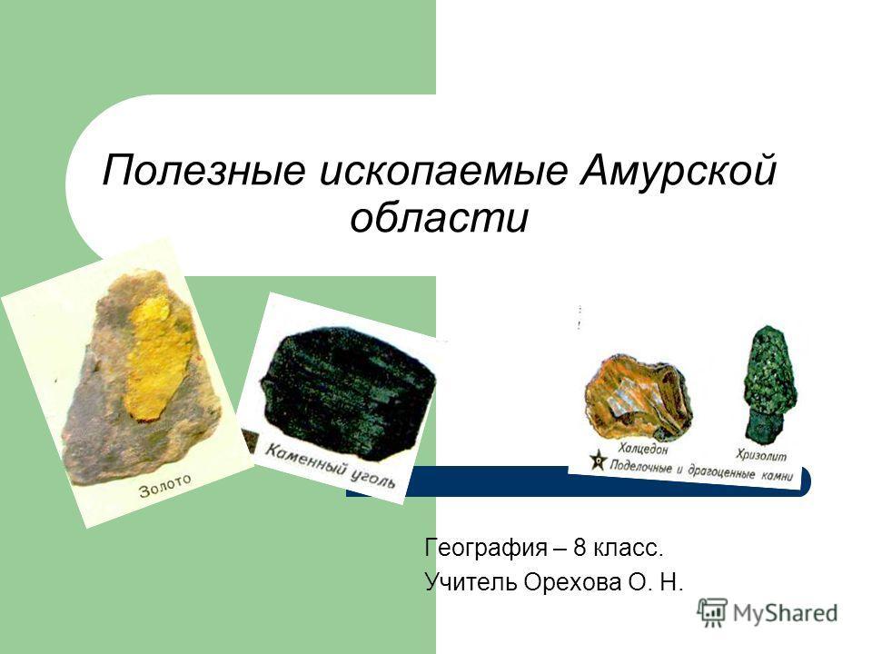 Полезные ископаемые Амурской области География – 8 класс. Учитель Орехова О. Н.
