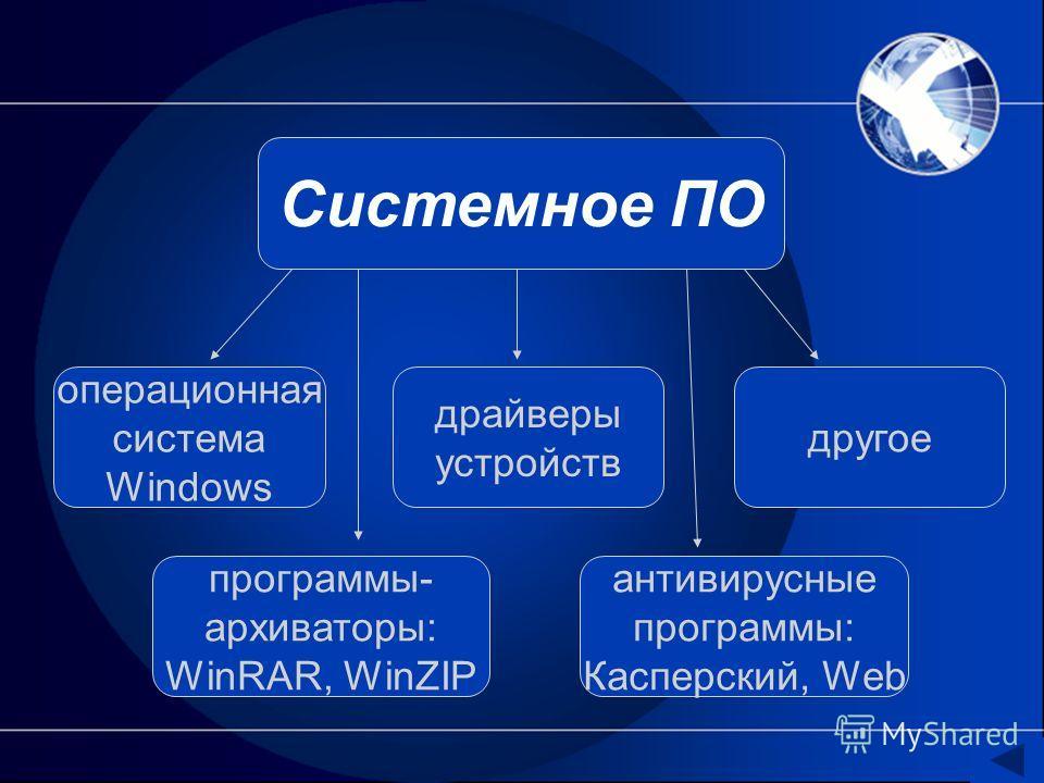 Системное ПО операционная система Windows драйверы устройств другое программы- архиваторы: WinRAR, WinZIP антивирусные программы: Касперский, Web