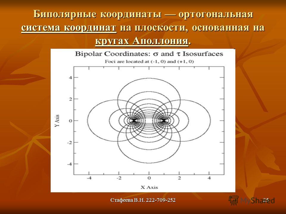 Стафеева В.Н. 222-709-25225 Биполярные координаты ортогональная система координат на плоскости, основанная на кругах Аполлония. система координат кругах Аполлония система координат кругах Аполлония