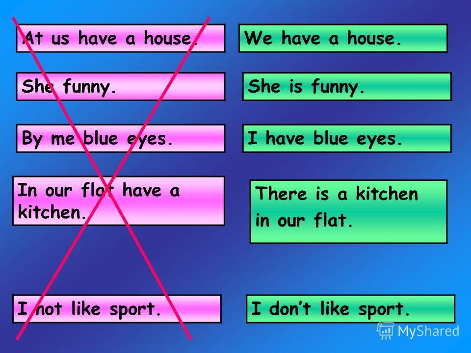 We have a house. She is funny. I have blue eyes. There is a kitchen in our flat. In our flat have a kitchen. By me blue eyes. She funny. At us have a house. I not like sport.I dont like sport.