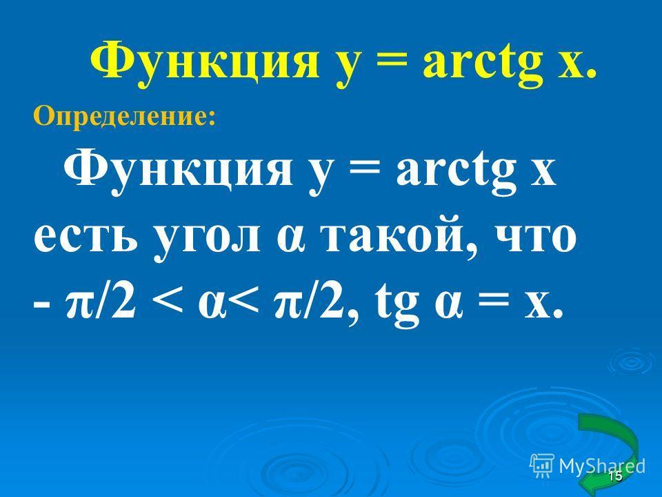 Функция у = arctg x. Определение: Функция у = arctg x есть угол α такой, что - π/2 < α< π/2, tg α = х. 15