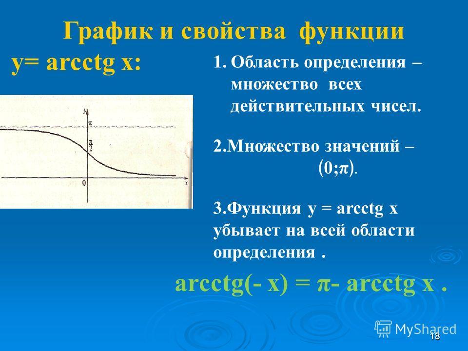 График и свойства функции у= arcсtg x: 1.Область определения – множество всех действительных чисел. arcсtg(- x) = π- arcсtg x. 2.Множество значений – 0;π. 3.Функция у = arcсtg x убывает на всей области определения. 18