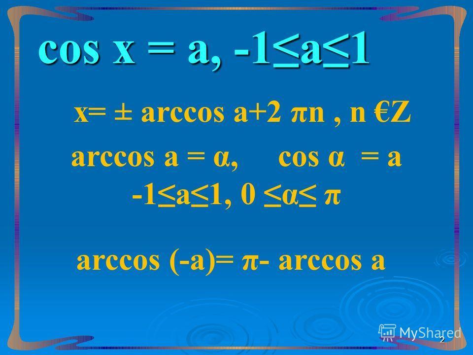 сos х = а, -1а1 х= ± arccos а+2 πn, n Z arccos а = α, сos α = а -1а1, 0 α π arccos (-а)= π- arccos а 2