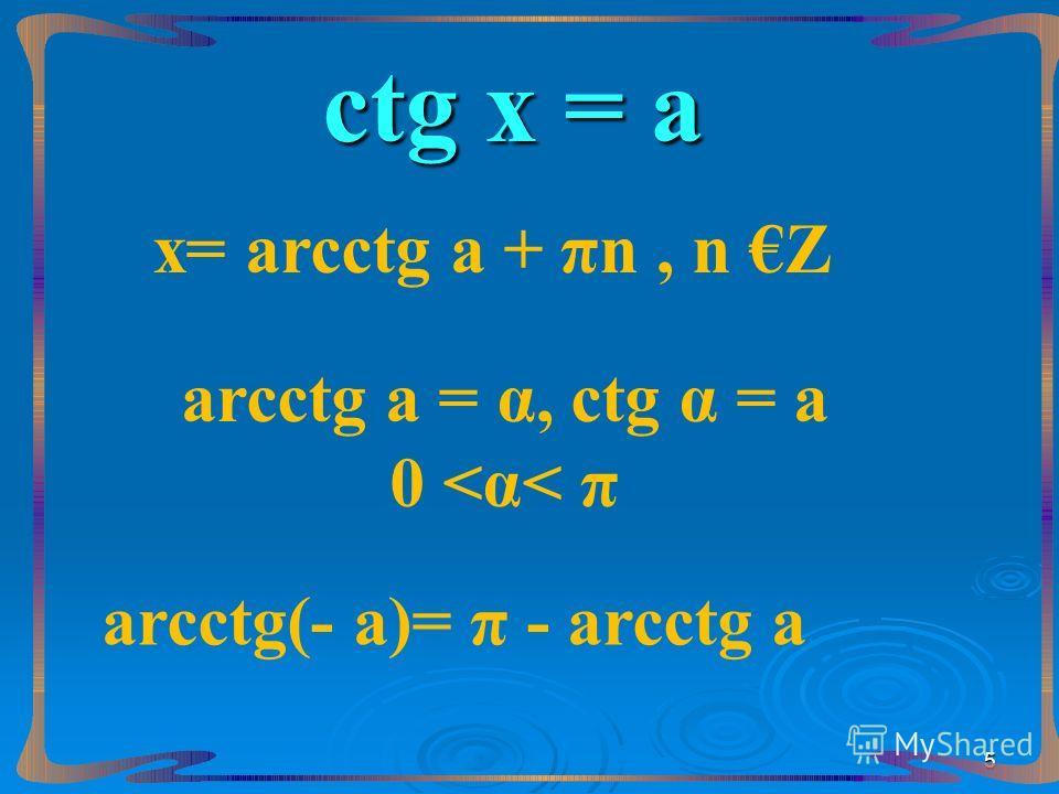 сtg х = а х= аrcсtg а + πn, n Z аrcсtg а = α, сtg α = а 0