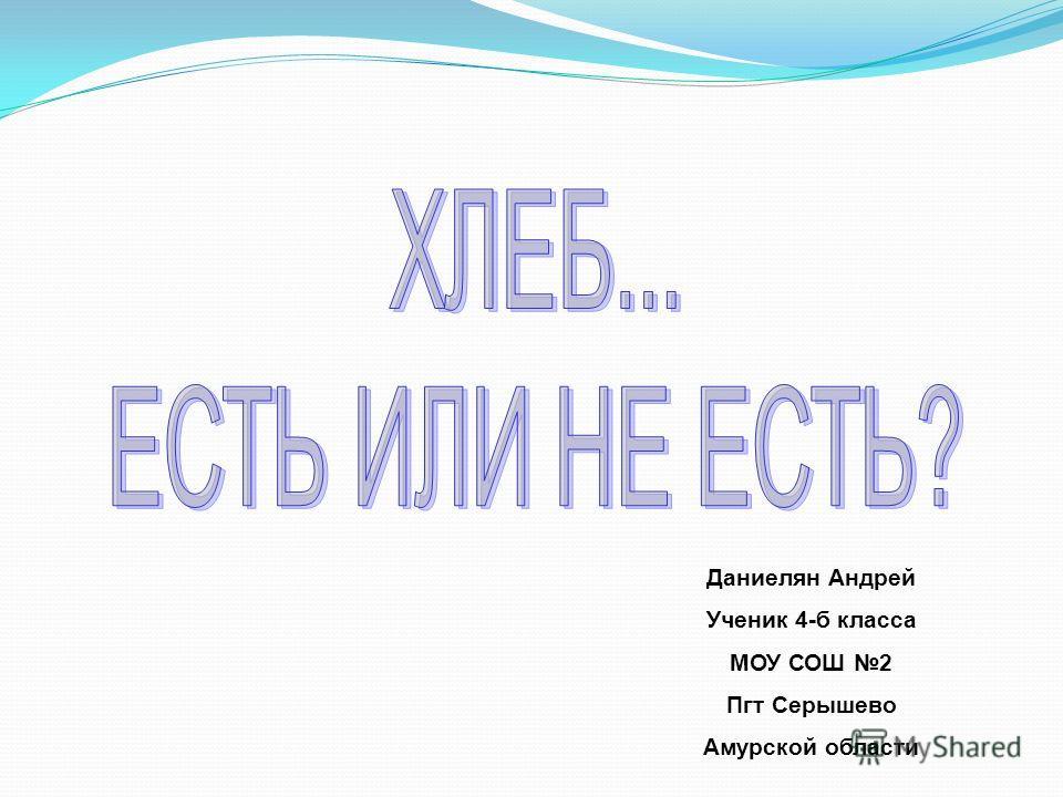 Даниелян Андрей Ученик 4-б класса МОУ СОШ 2 Пгт Серышево Амурской области