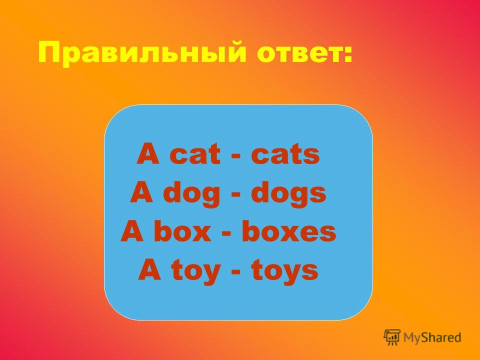 Правильный ответ: A cat - cats A dog - dogs A box - boxes A toy - toys