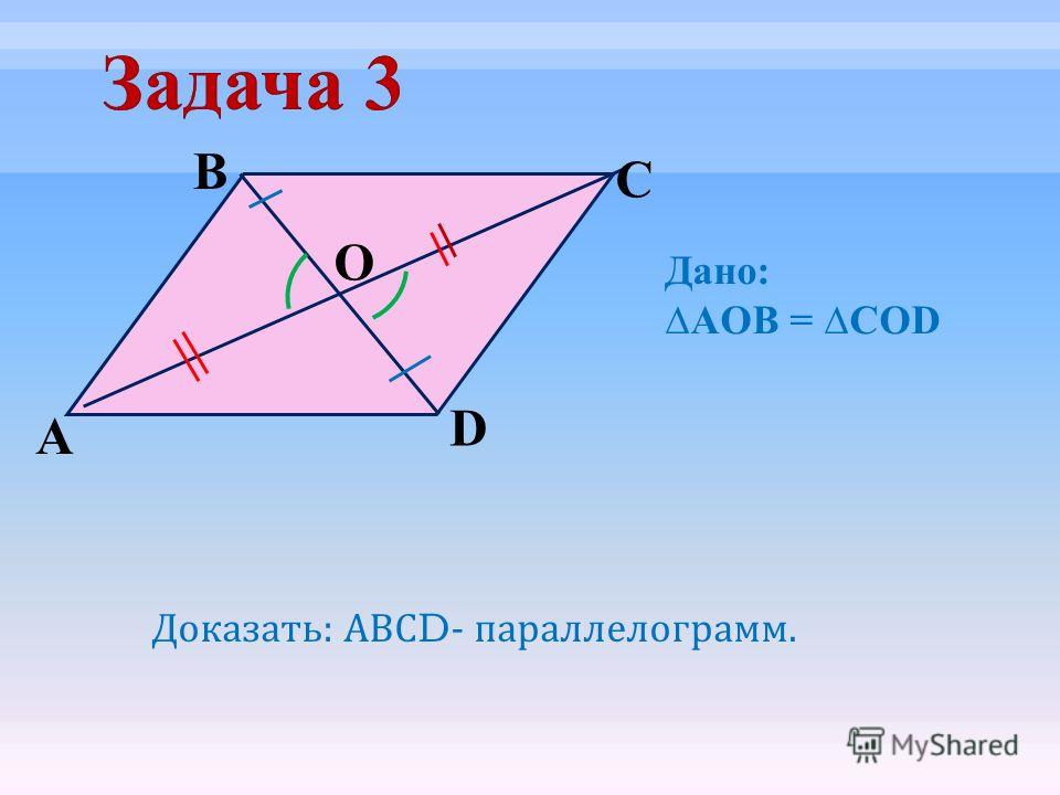 O D C B А Доказать : АВС D- параллелограмм. Дано: AOB = COD