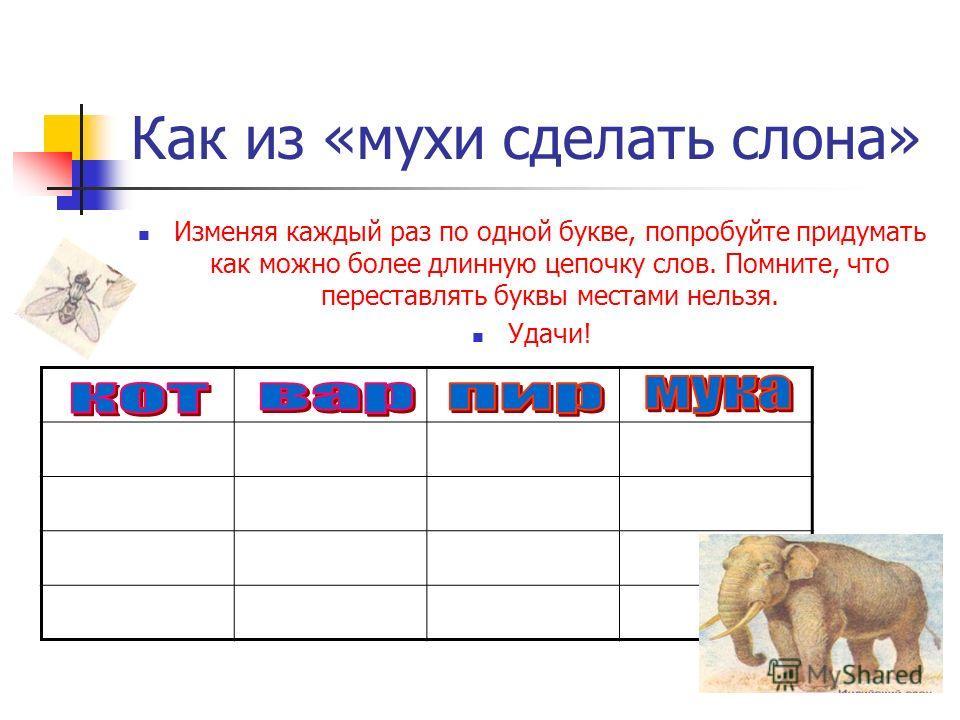 Как из «мухи сделать слона» Изменяя каждый раз по одной букве, попробуйте придумать как можно более длинную цепочку слов. Помните, что переставлять буквы местами нельзя. Удачи!