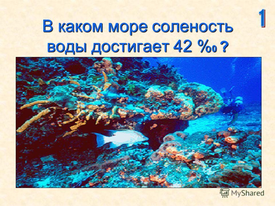 27 В каком море соленость воды достигает 42 % 0 ?