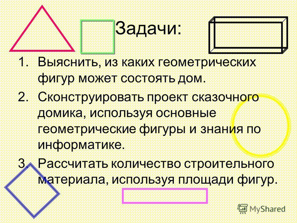 Задачи: 1.Выяснить, из каких геометрических фигур может состоять дом. 2.Сконструировать проект сказочного домика, используя основные геометрические фигуры и знания по информатике. 3.Рассчитать количество строительного материала, используя площади фиг