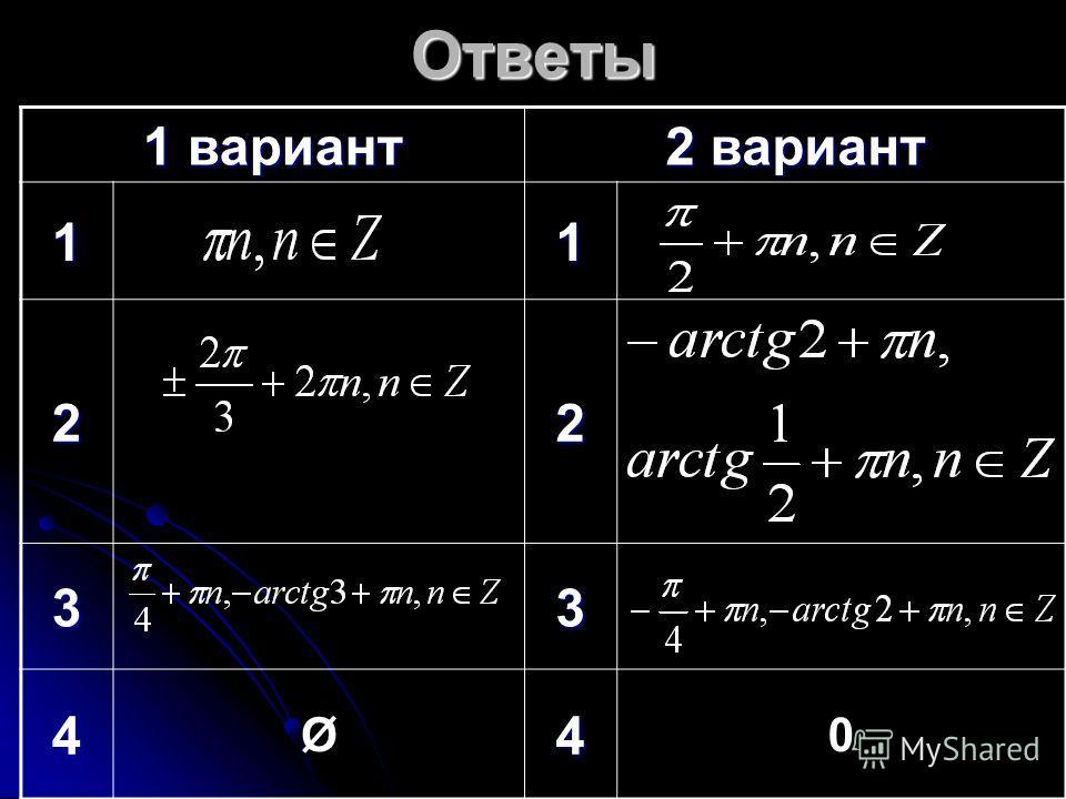 Ответы 1 вариант 2 вариант 11 22 33 4 Ø4 0