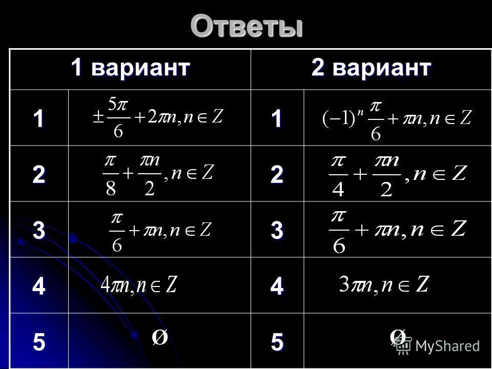 Ответы 1 вариант 2 вариант 11 22 33 44 5 Ø5 Ø