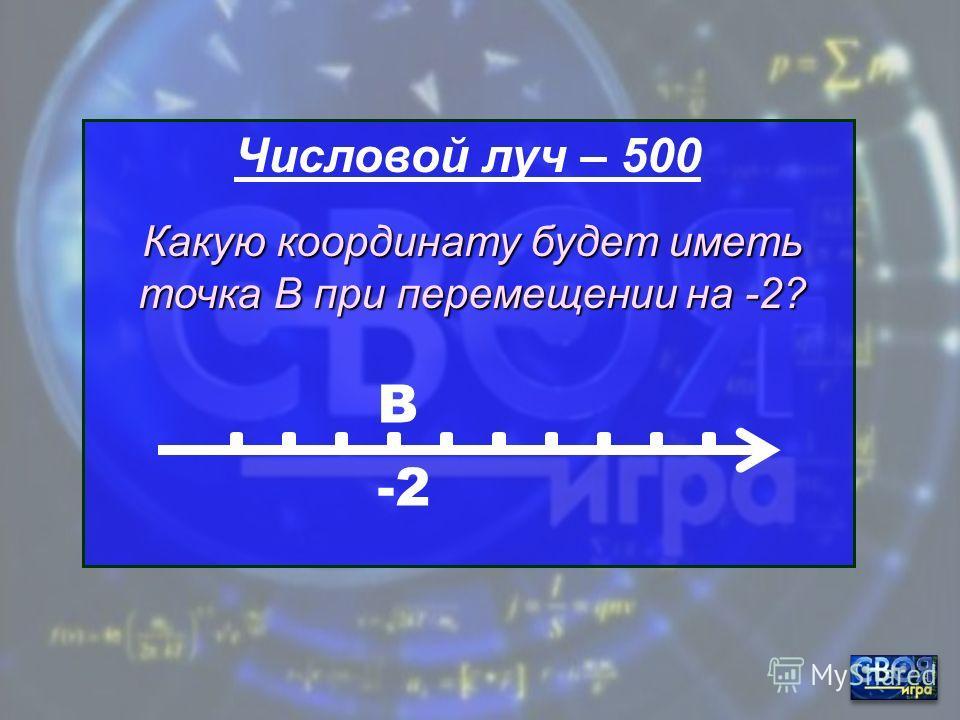Числовой луч – 400 -3 А Какую координату будет иметь точка А при перемещении на +7?