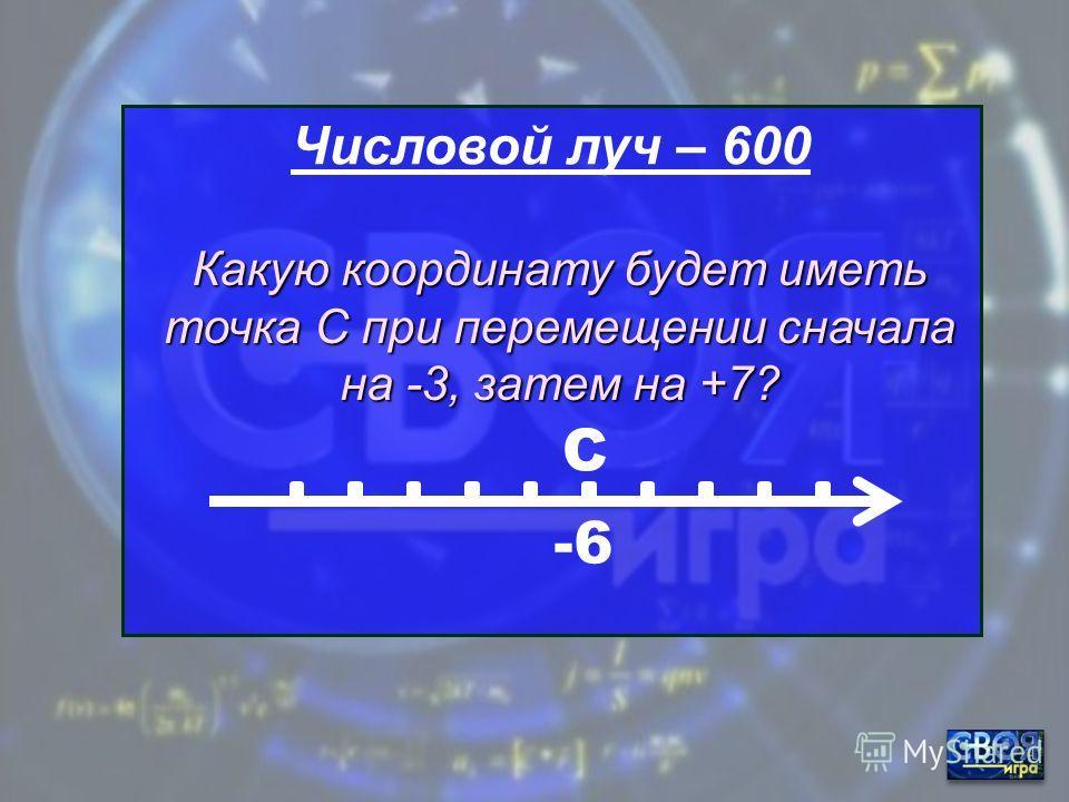 Числовой луч – 500 -2 В Какую координату будет иметь точка В при перемещении на -2?