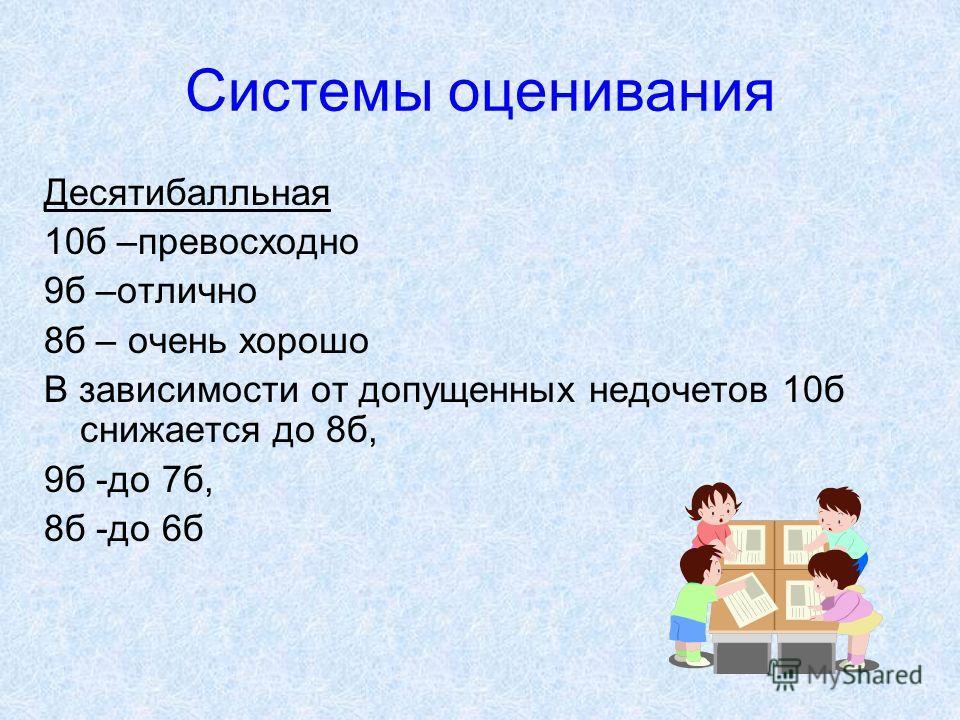 Системы оценивания Десятибалльная 10б –превосходно 9б –отлично 8б – очень хорошо В зависимости от допущенных недочетов 10б снижается до 8б, 9б -до 7б, 8б -до 6б
