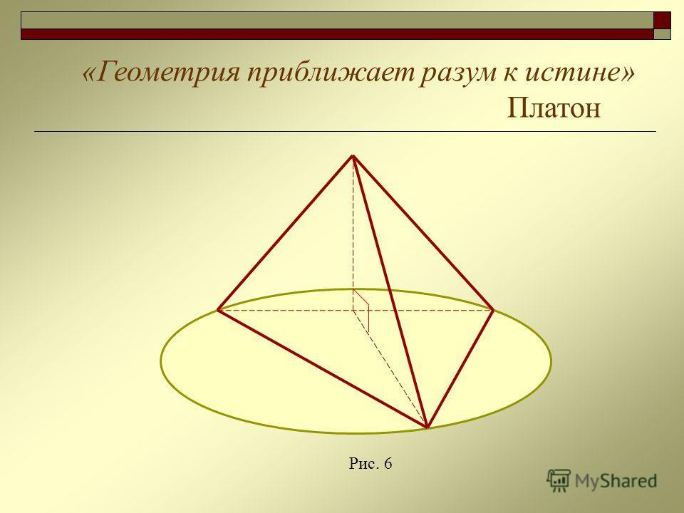 «Геометрия приближает разум к истине» Платон Рис. 6