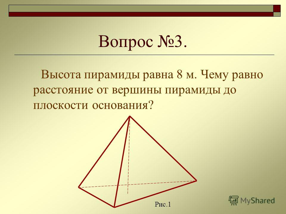 Вопрос 3. Высота пирамиды равна 8 м. Чему равно расстояние от вершины пирамиды до плоскости основания? Рис.1