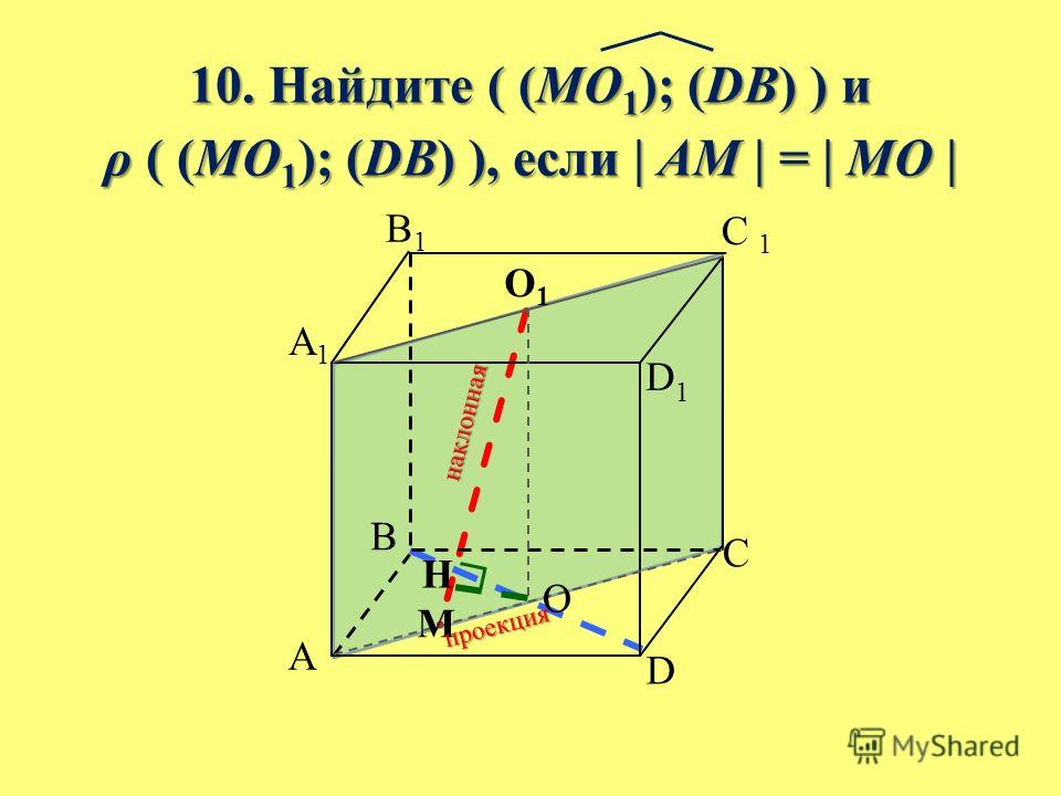 10. Найдите ( (MO 1 ); (DB) ) и ρ ( (MO 1 ); (DB) ), если | AM | = | MO | B A C D A1A1 B1B1 C 1 D1D1 O1O1 O M н а к л о н н а я п р о е к ц и я H