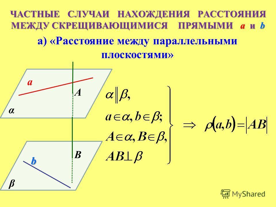 A B α α β ЧАСТНЫЕ СЛУЧАИ НАХОЖДЕНИЯ РАССТОЯНИЯ МЕЖДУ СКРЕЩИВАЮЩИМИСЯ ПРЯМЫМИ a и b а) «Расстояние между параллельными плоскостями» a b