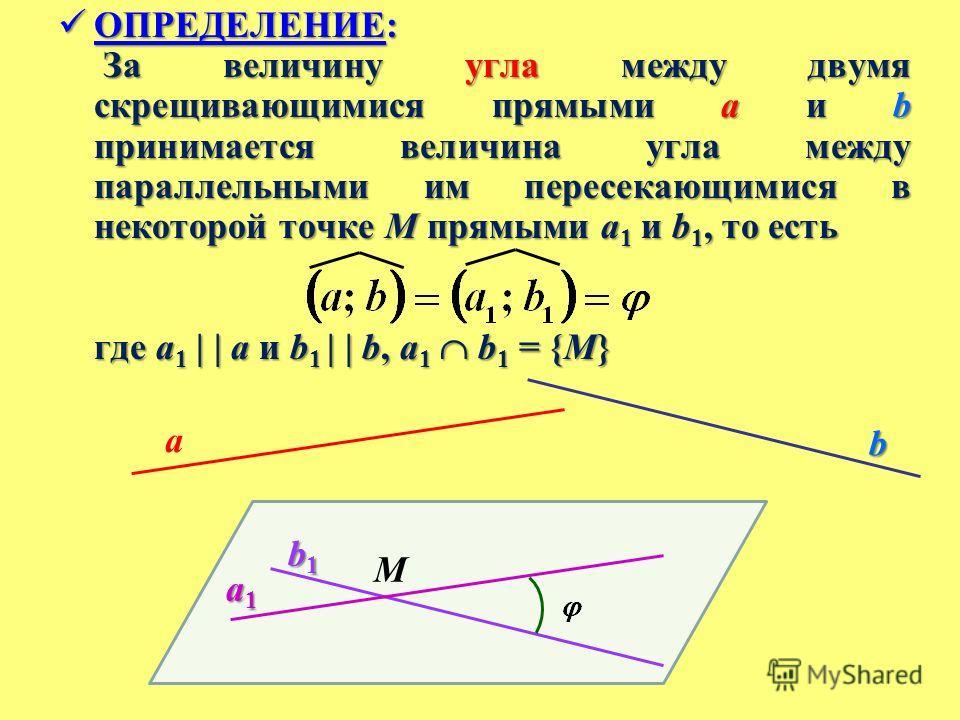 ОПРЕДЕЛЕНИЕ: ОПРЕДЕЛЕНИЕ: За величину угла между двумя скрещивающимися прямыми a и b принимается величина угла между параллельными им пересекающимися в некоторой точке M прямыми a 1 и b 1, то есть За величину угла между двумя скрещивающимися прямыми