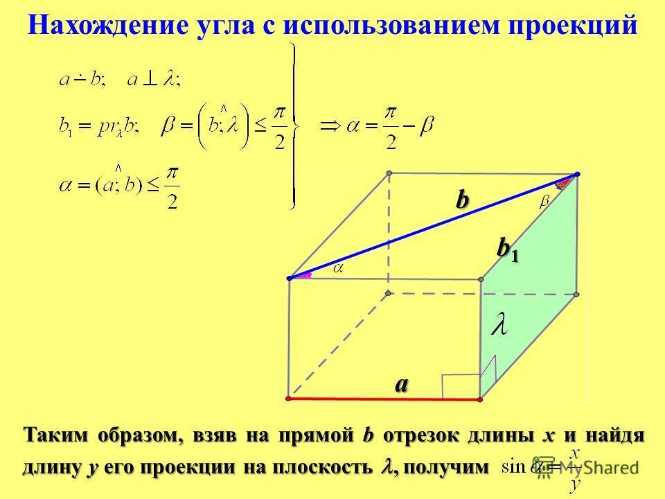 Нахождение угла с использованием проекций Таким образом, взяв на прямой b отрезок длины x и найдя длину y его проекции на плоскость, получим b a b1b1b1b1