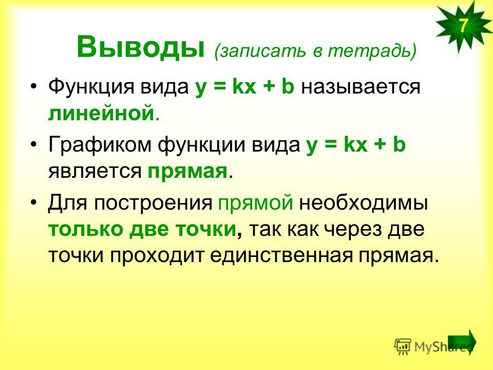 Выводы (записать в тетрадь) Функция вида у = kx + b называется линейной. Графиком функции вида у = kx + b является прямая. Для построения прямой необходимы только две точки, так как через две точки проходит единственная прямая. 7